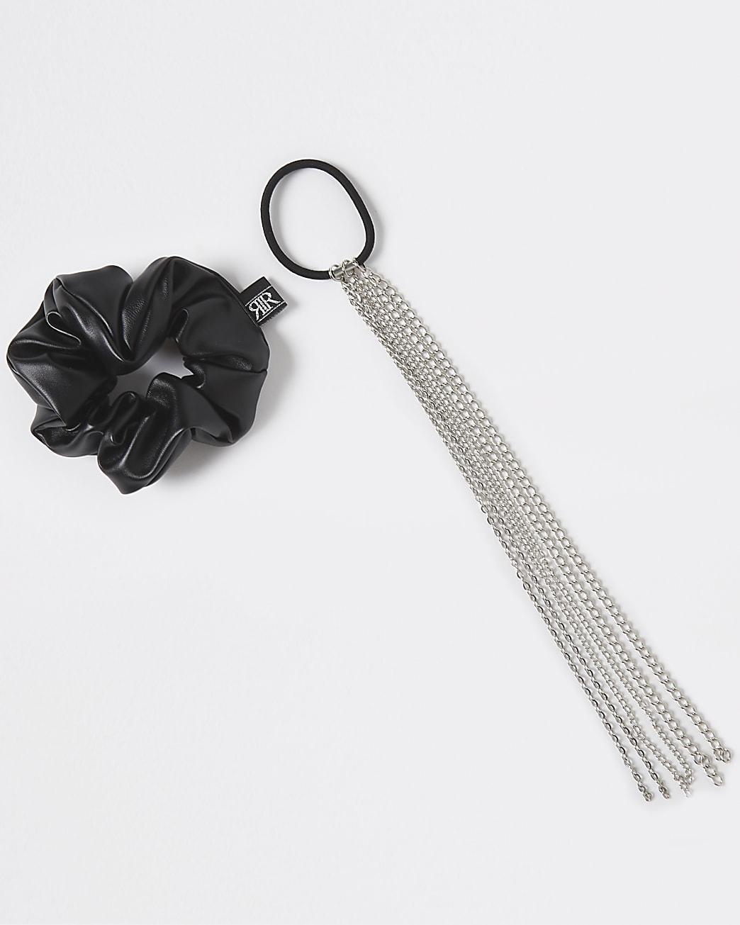 Black PU scrunchie and chain bobble