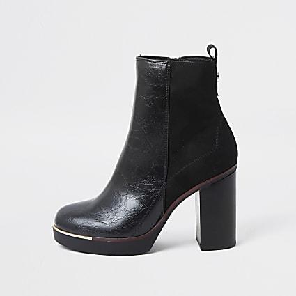 Black PU smart platform ankle boot