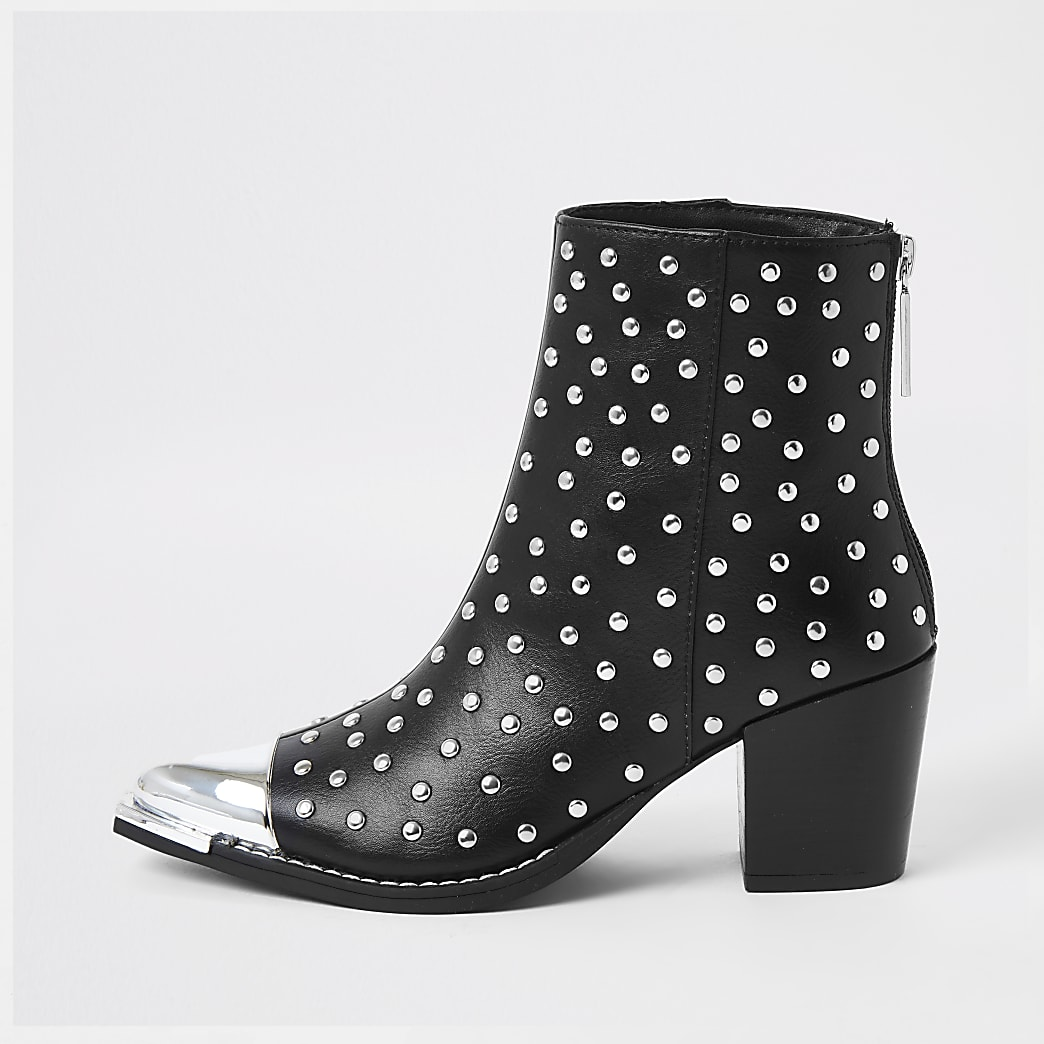 Black PU studded western boots