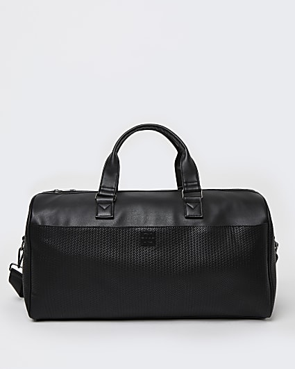Black PU weave design holdall bag