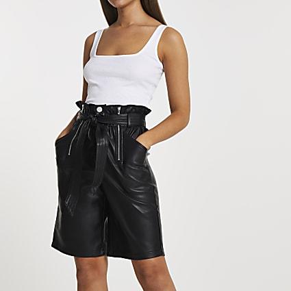 Black PU zip detail smart shorts