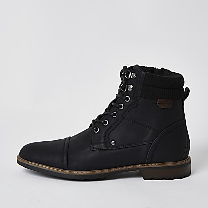 Black PU zip lace up casual boots