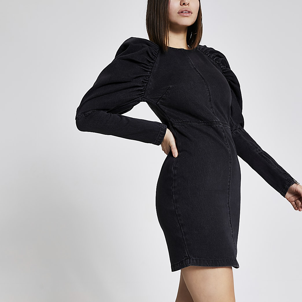 Black puff long sleeve denim mini dress