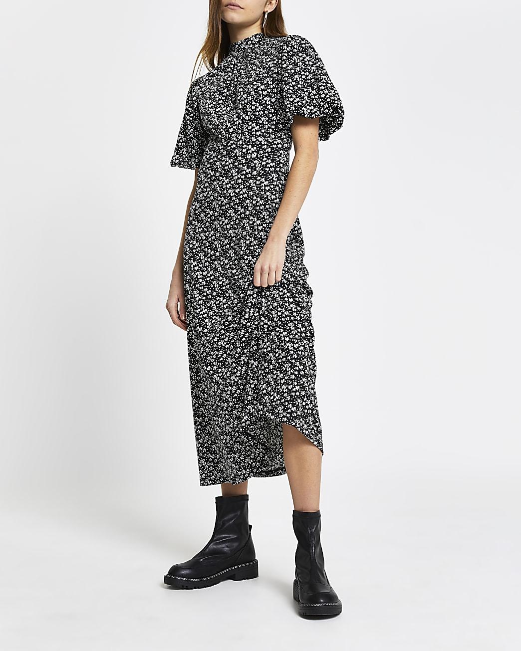 Black puff sleeve back detail midi dress