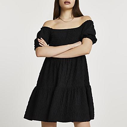 Black puff sleeve bardot textured mini dress
