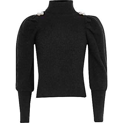 Black puff sleeve button roll neck top