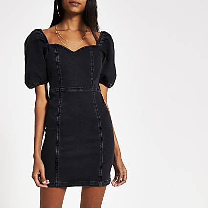 Black puff sleeve fitted denim mini dress