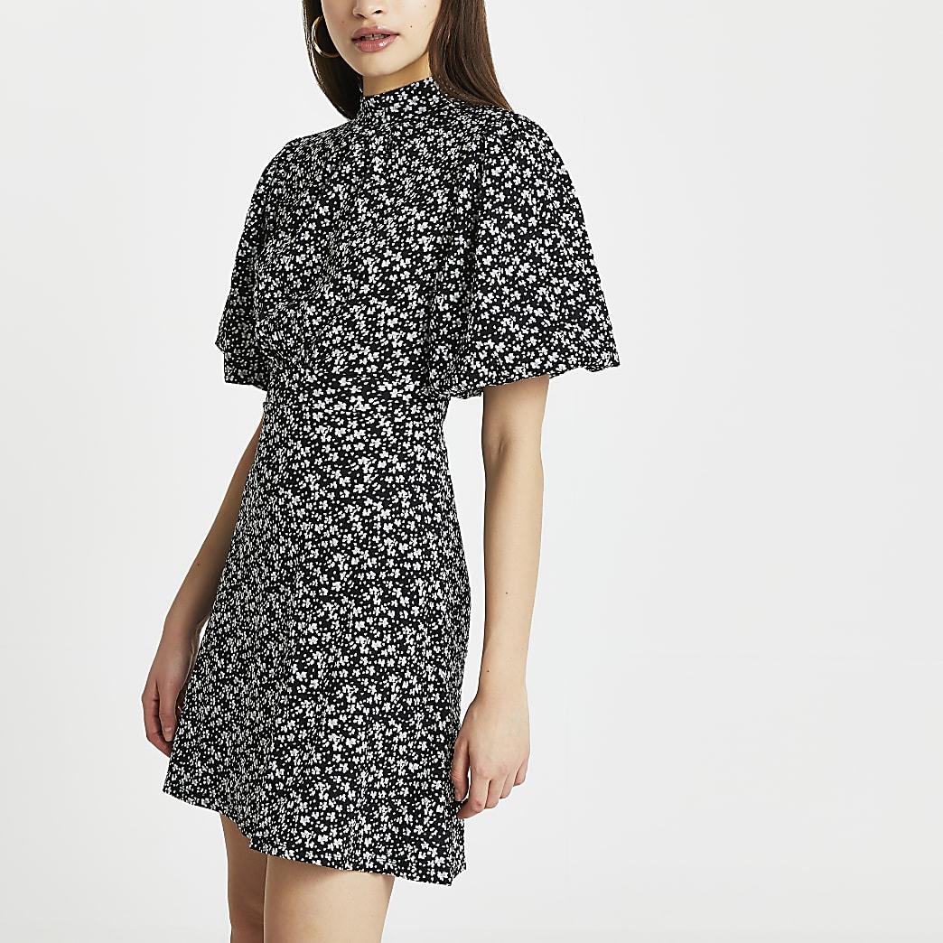 Black puff sleeve floral print mini dress