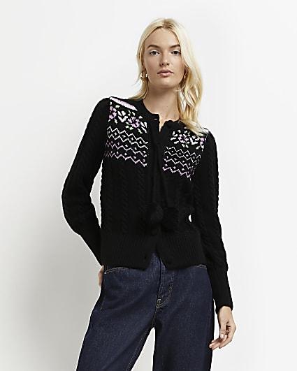 Black puff sleeve knitted cardigan