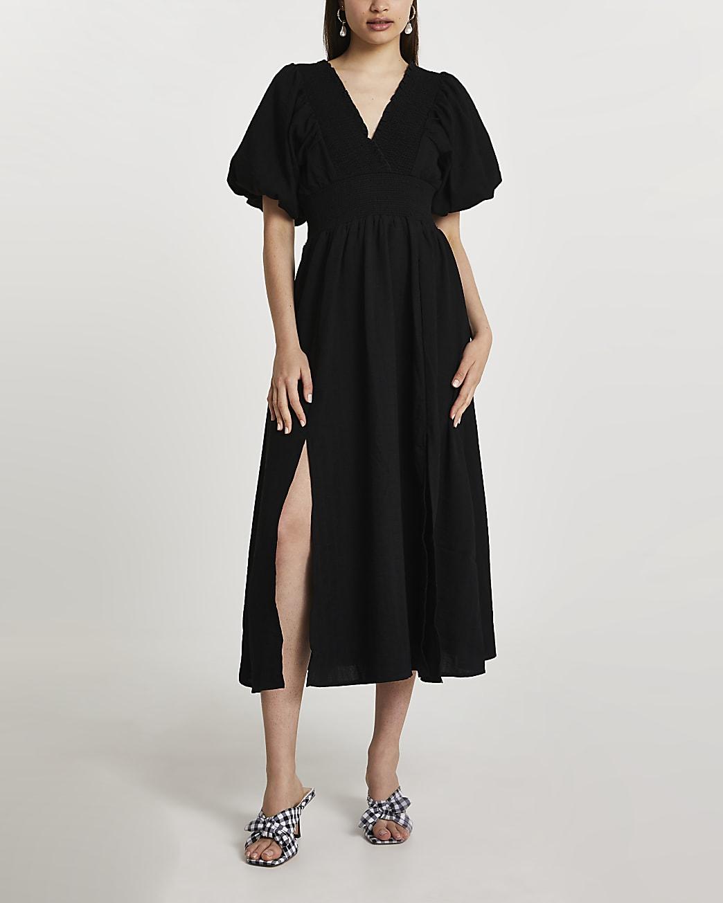 Black puff sleeve maxi dress