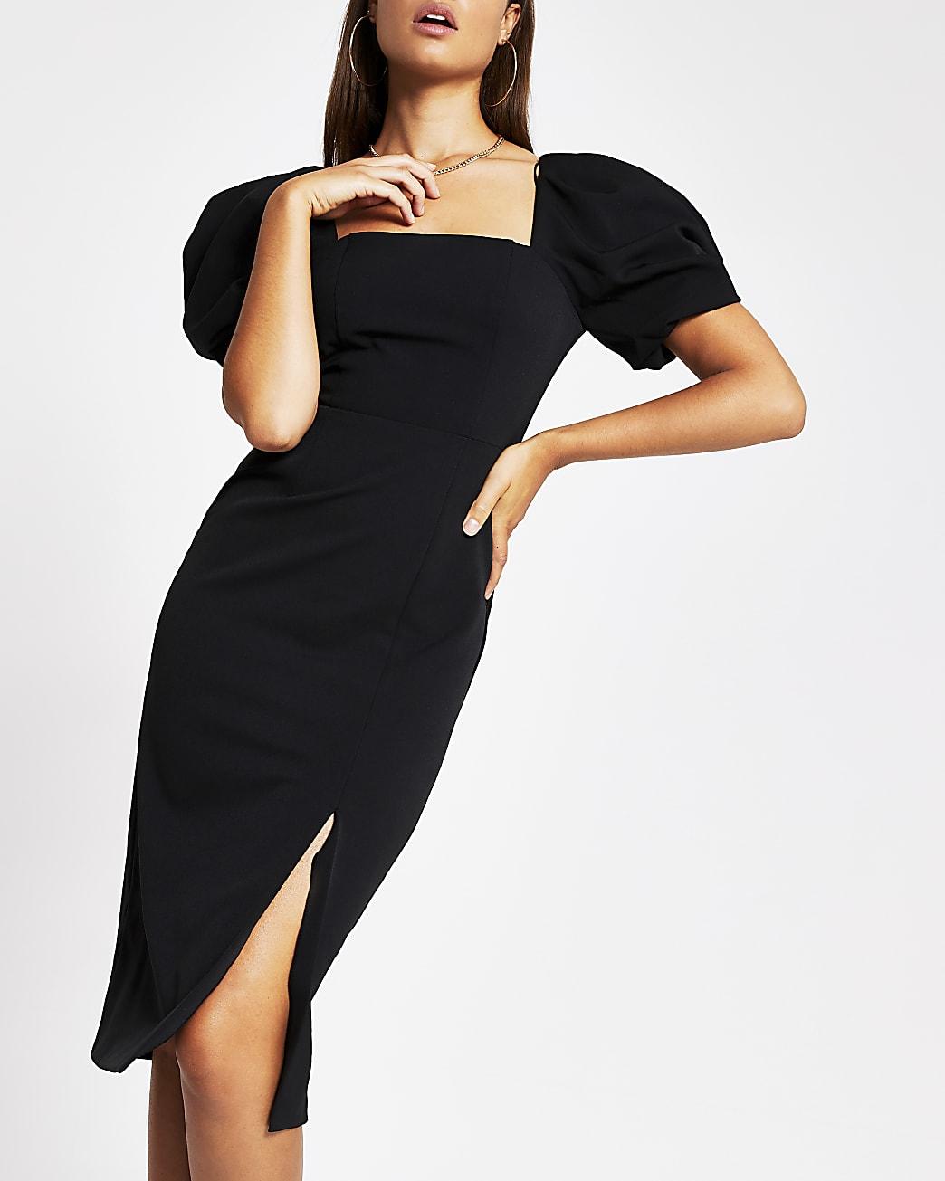 Black puff sleeve midi Bodycon dress