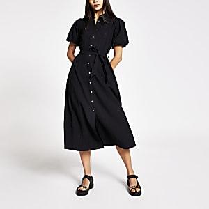 Robe chemise mi-longueà manches bouffantes noire