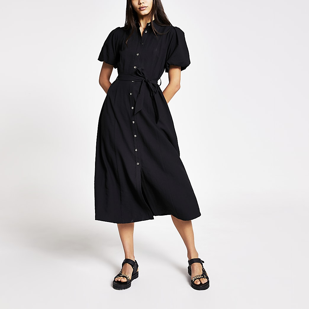 Black puff sleeve midi shirt dress