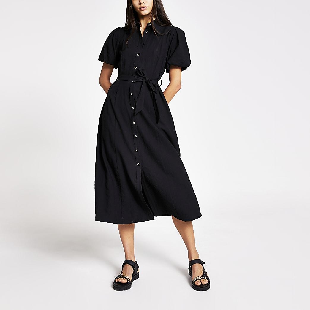Black puff sleeve midi shirt dress