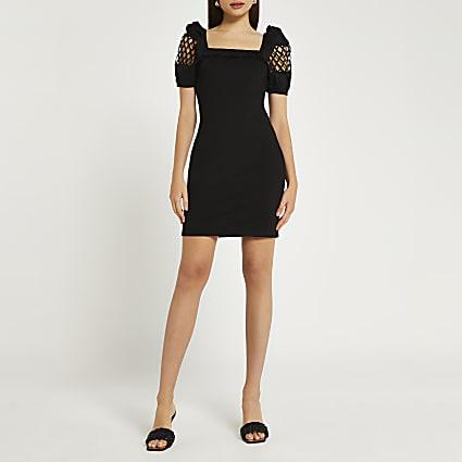 Black puff sleeve mini dress