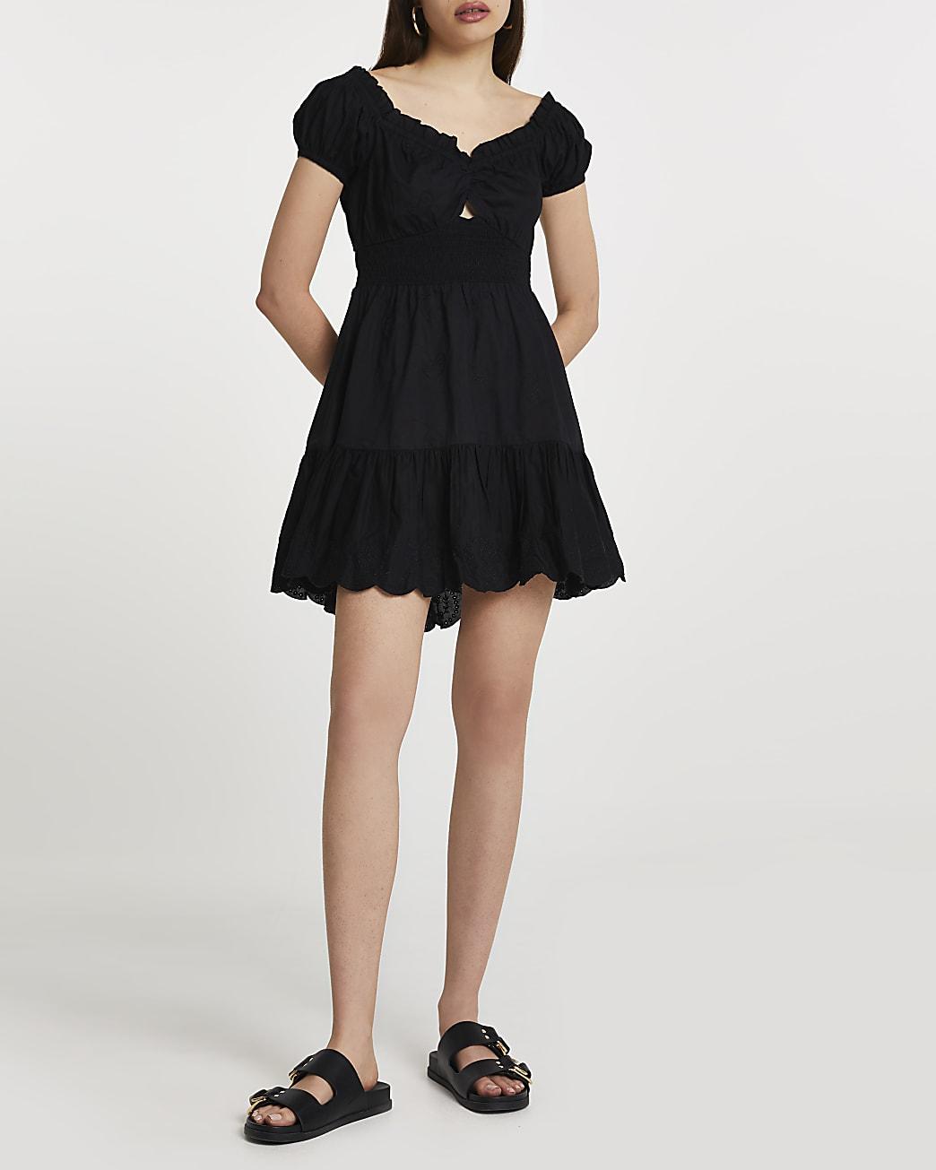Black puff sleeve shirred mini beach dress