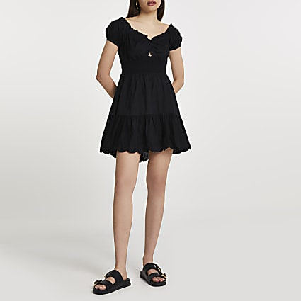 Black puff sleeve shirred mini beach dress