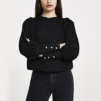 Black puff sleeve textured top