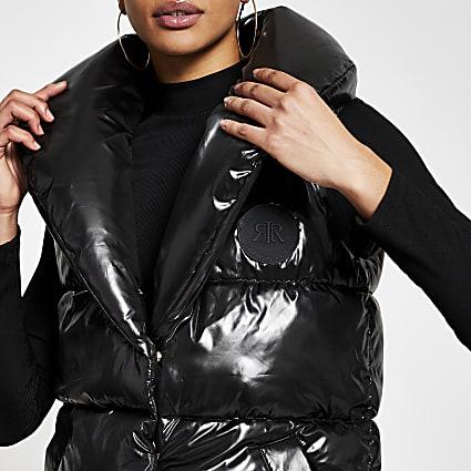 Black puffer RI branded gilet