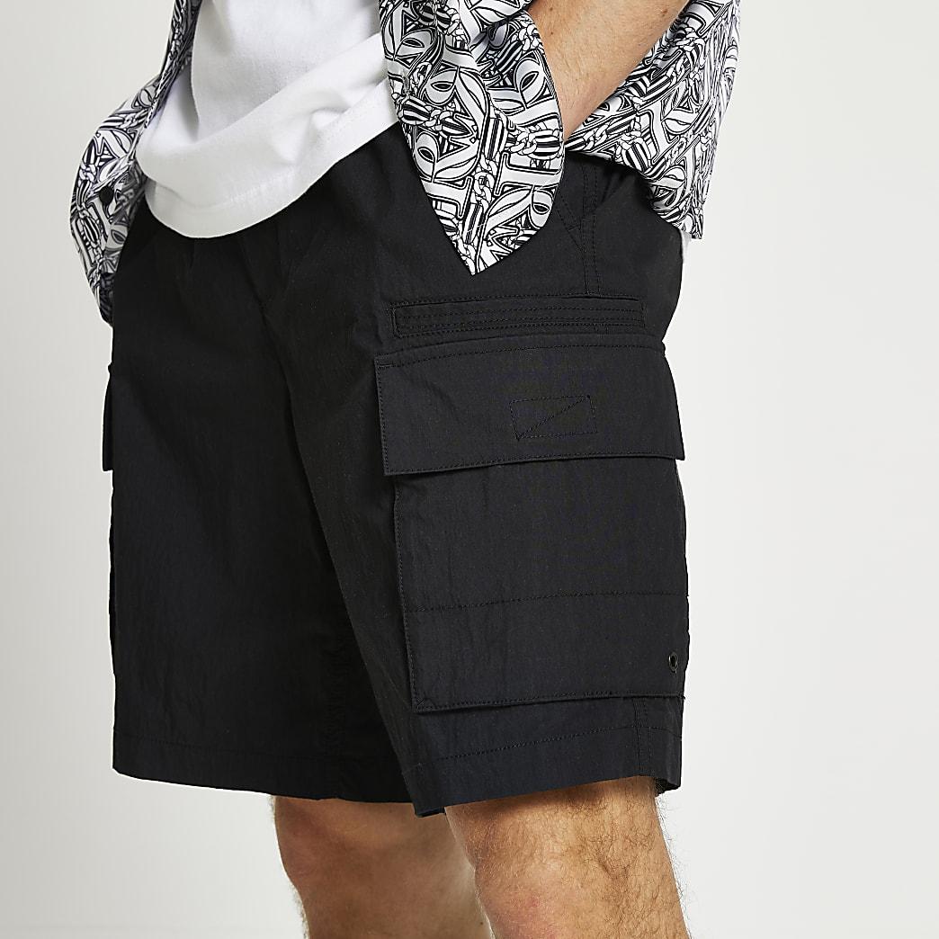 Black pull on shorts