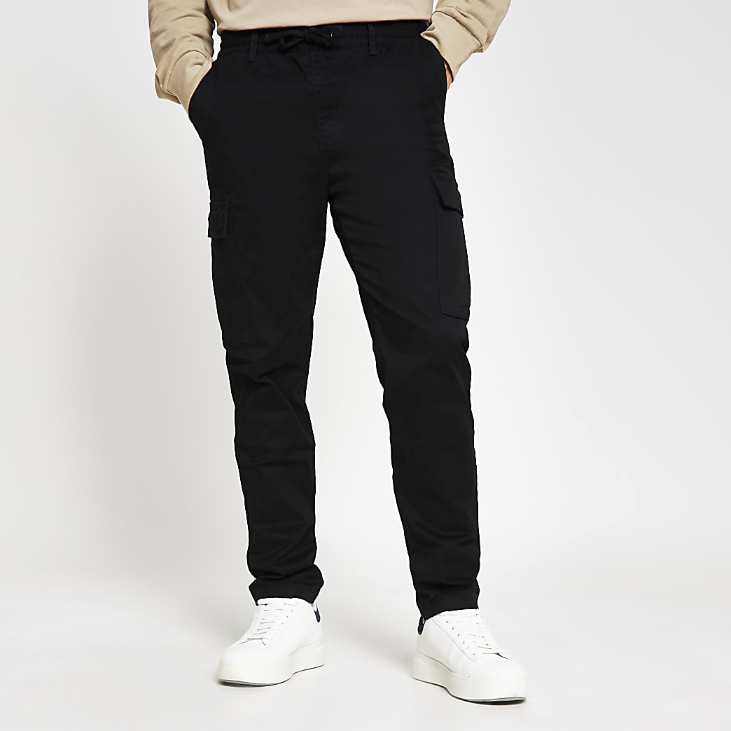 Black pull on twill skinny fit cargo trousers