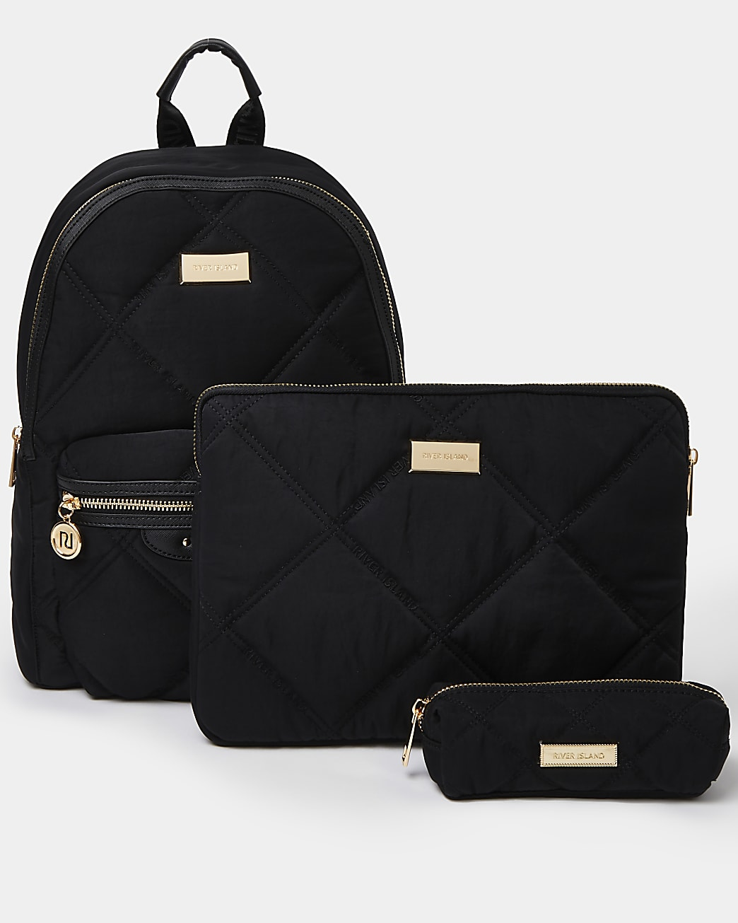 Black quilted backpack and laptop case set