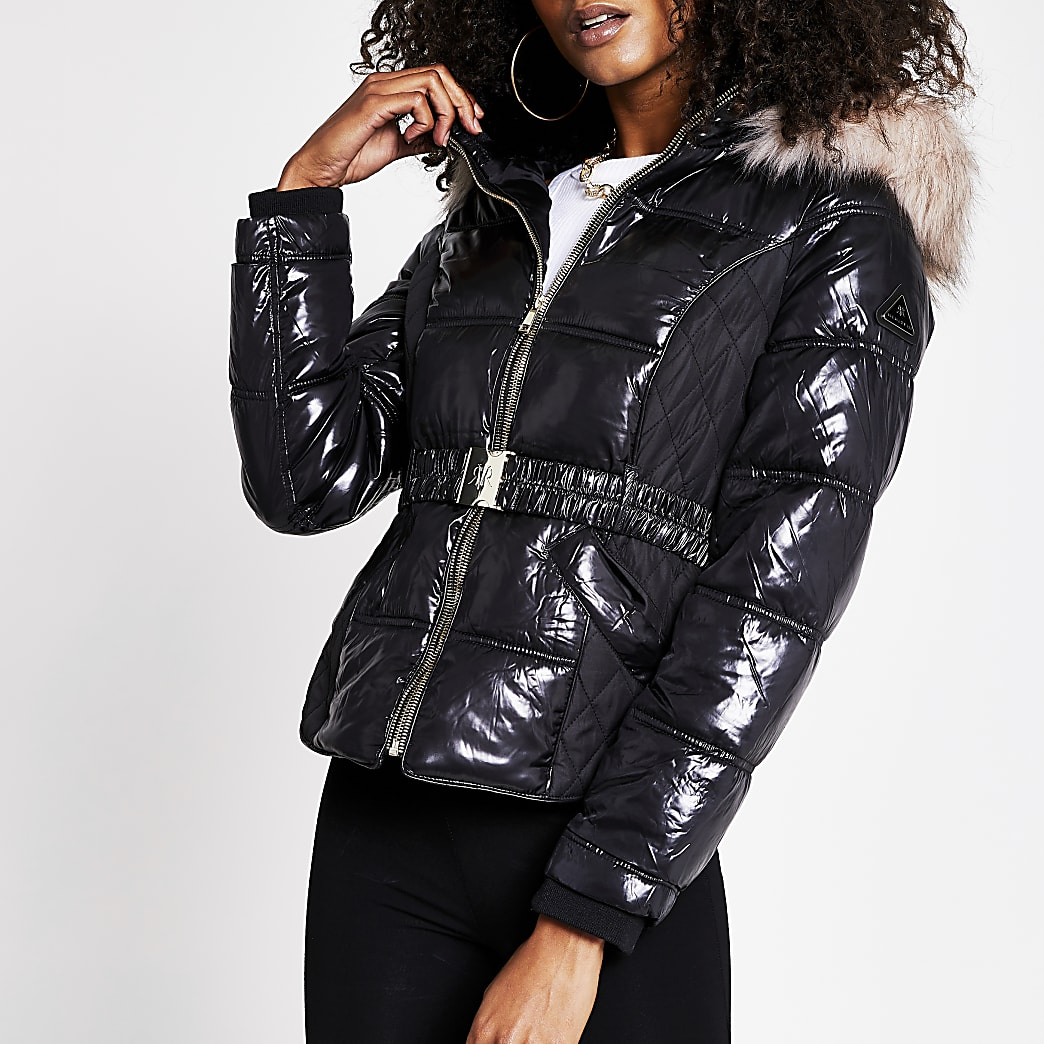 Black quilted belted padded jacket