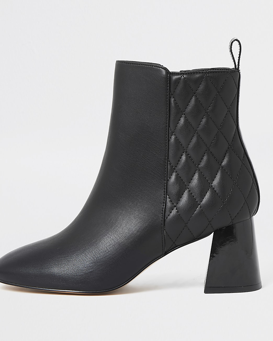 Black quilted block heel boots