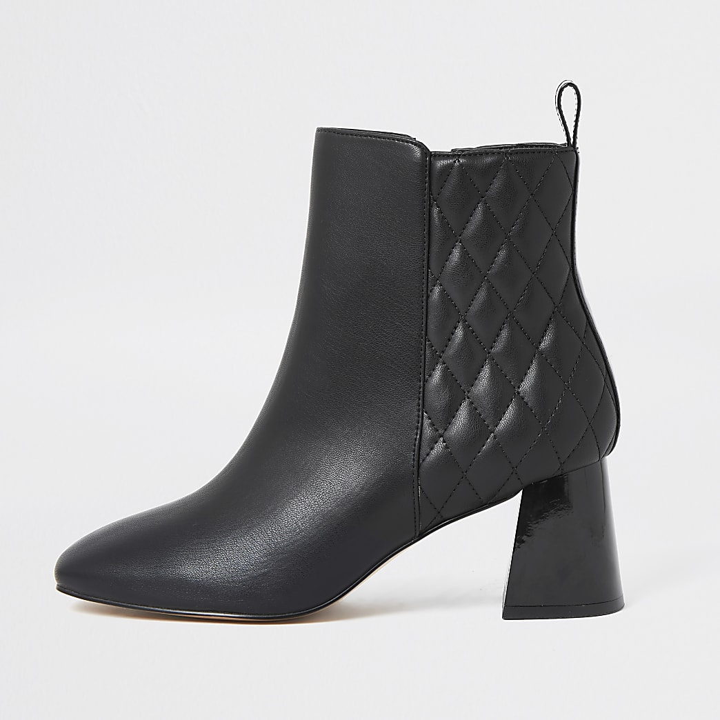 Black quilted block heel boots
