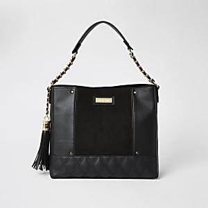 Zwarte doorgestikte ruime handtas met ketting