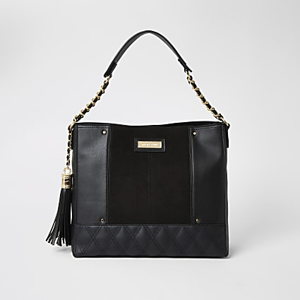 Black quilted chain slouch bag