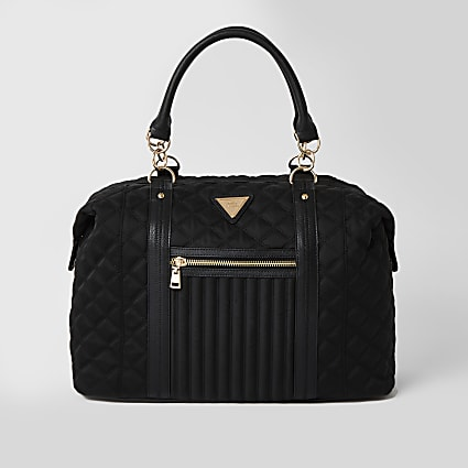 Black quilted cross body weekend bag
