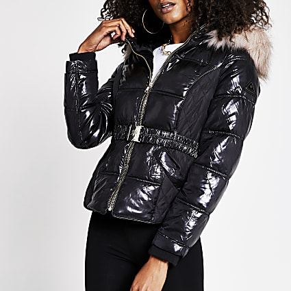 Black quilted double zip padded jacket
