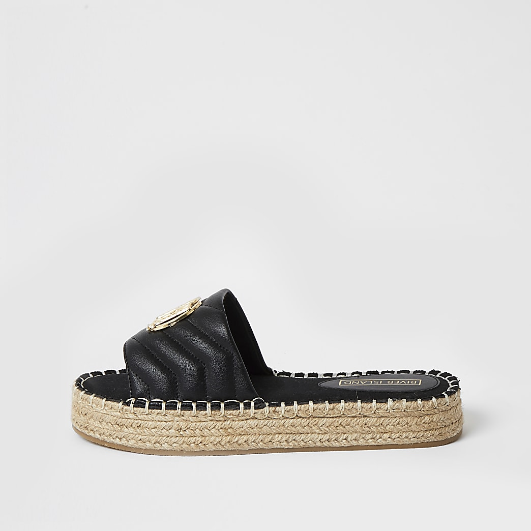 Black quilted espadrille Flatform sandal