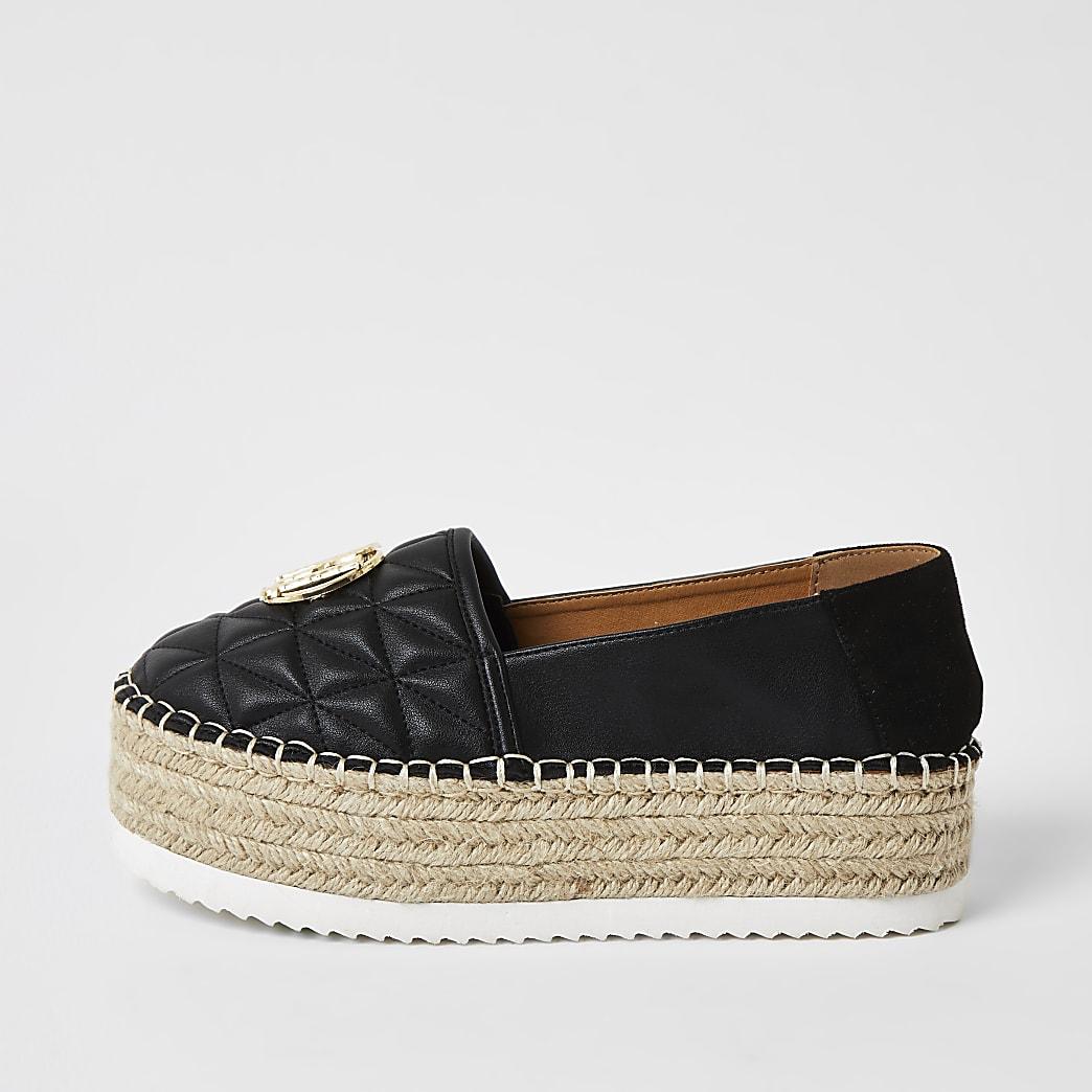 Black quilted espradrille flatform sandals