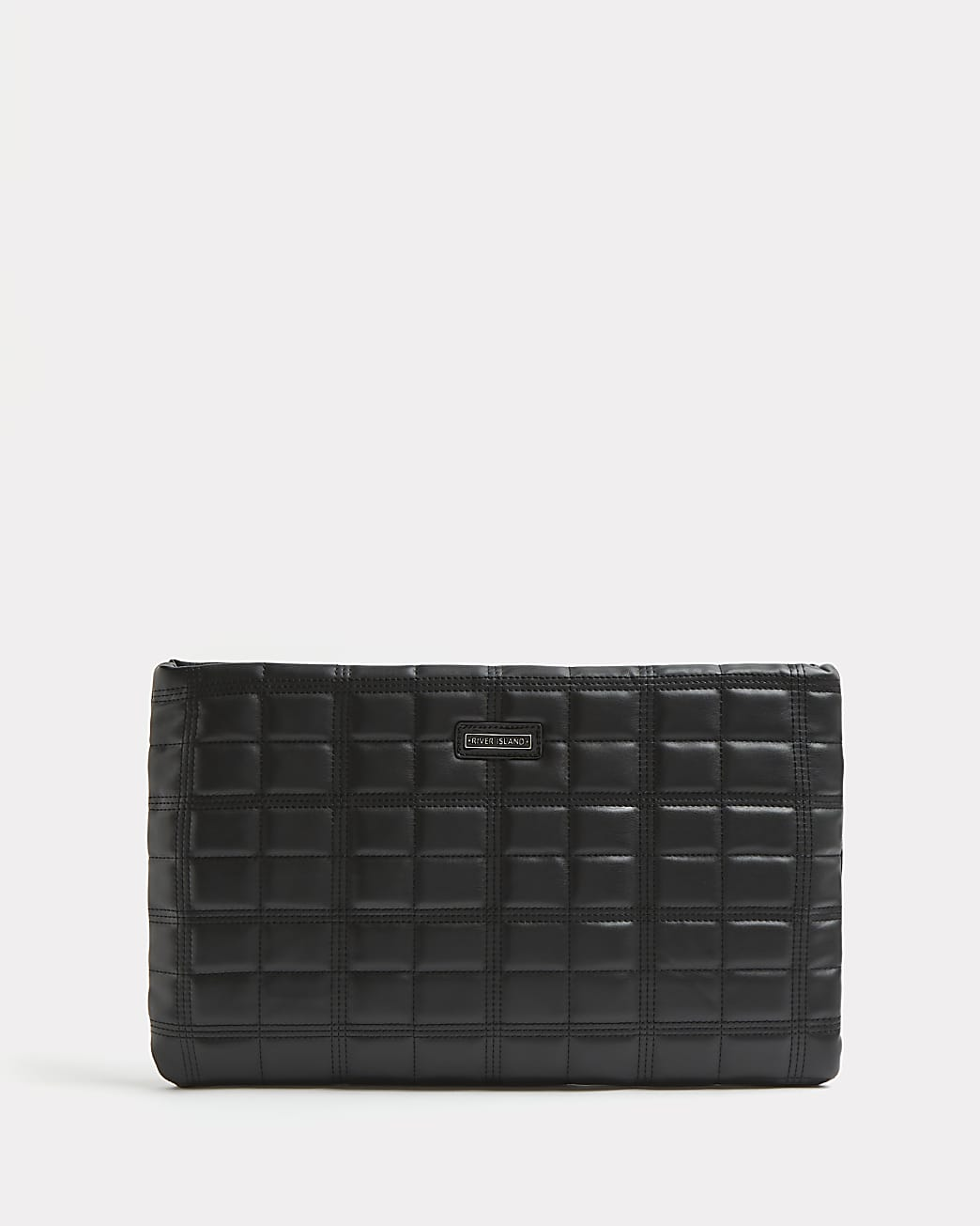 Black quilted extra large clutch bag