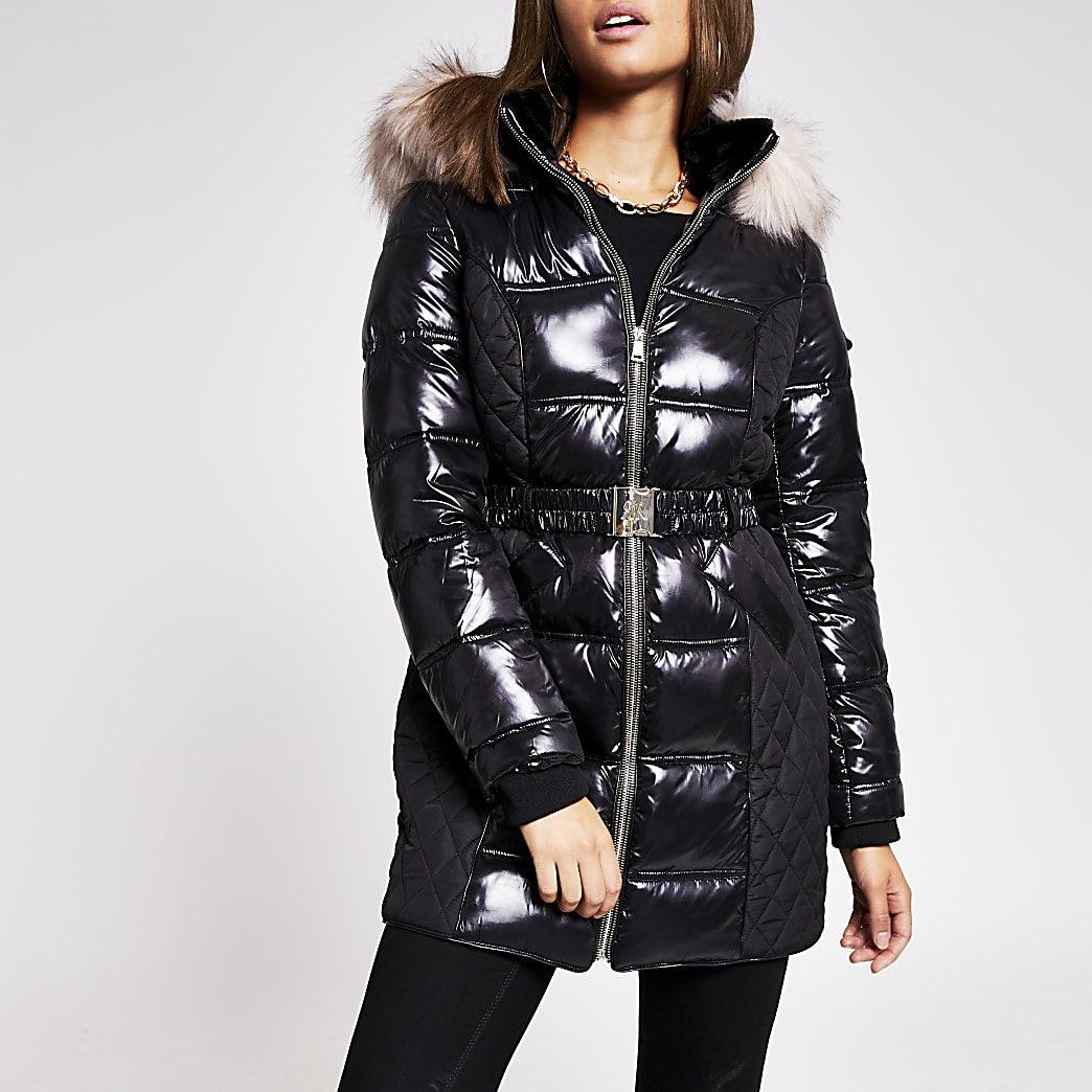 Black quilted faux fur belted padded coat