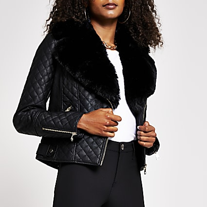 Black quilted faux fur pu biker jacket
