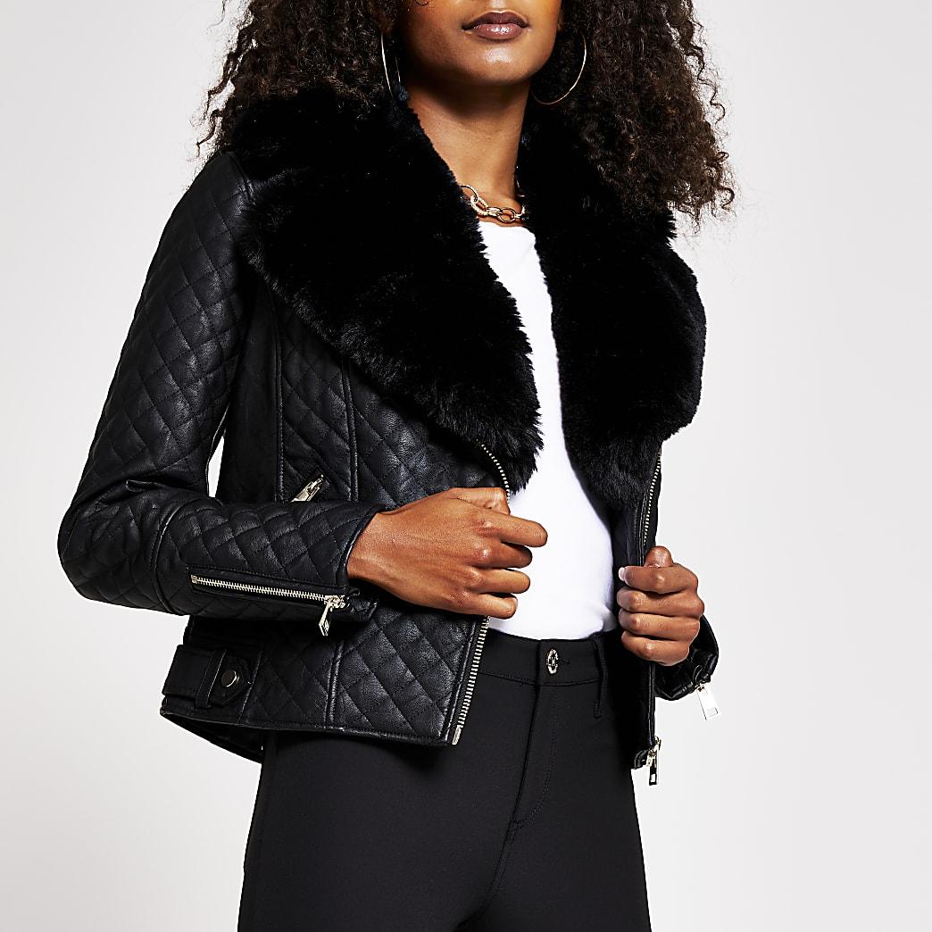 Black quilted faux fur pu biker jacket