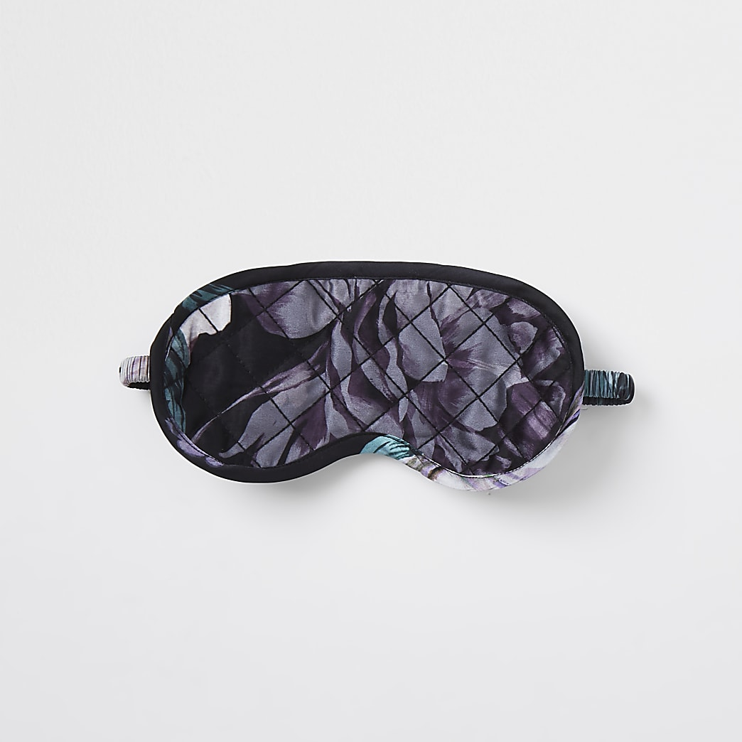 Black quilted floral eye mask