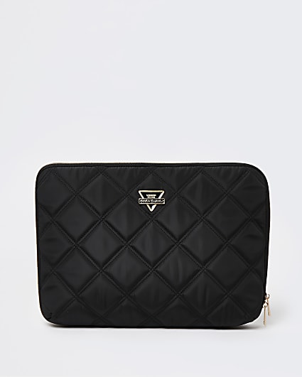 Black quilted laptop case