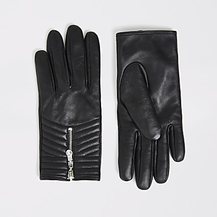 Black quilted leather gloves