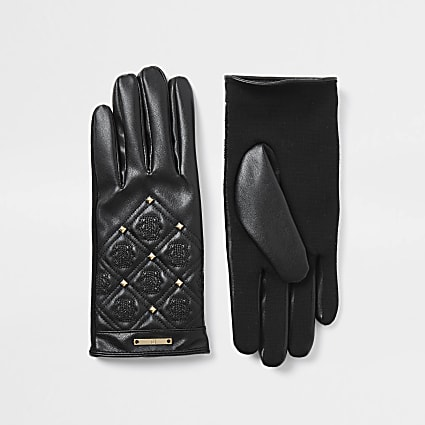 Black quilted leather 'RIR' gloves