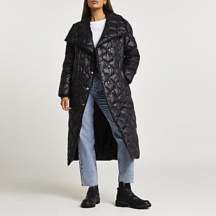 Black quilted longline coat