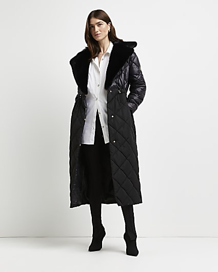 Black quilted longline puffer coat