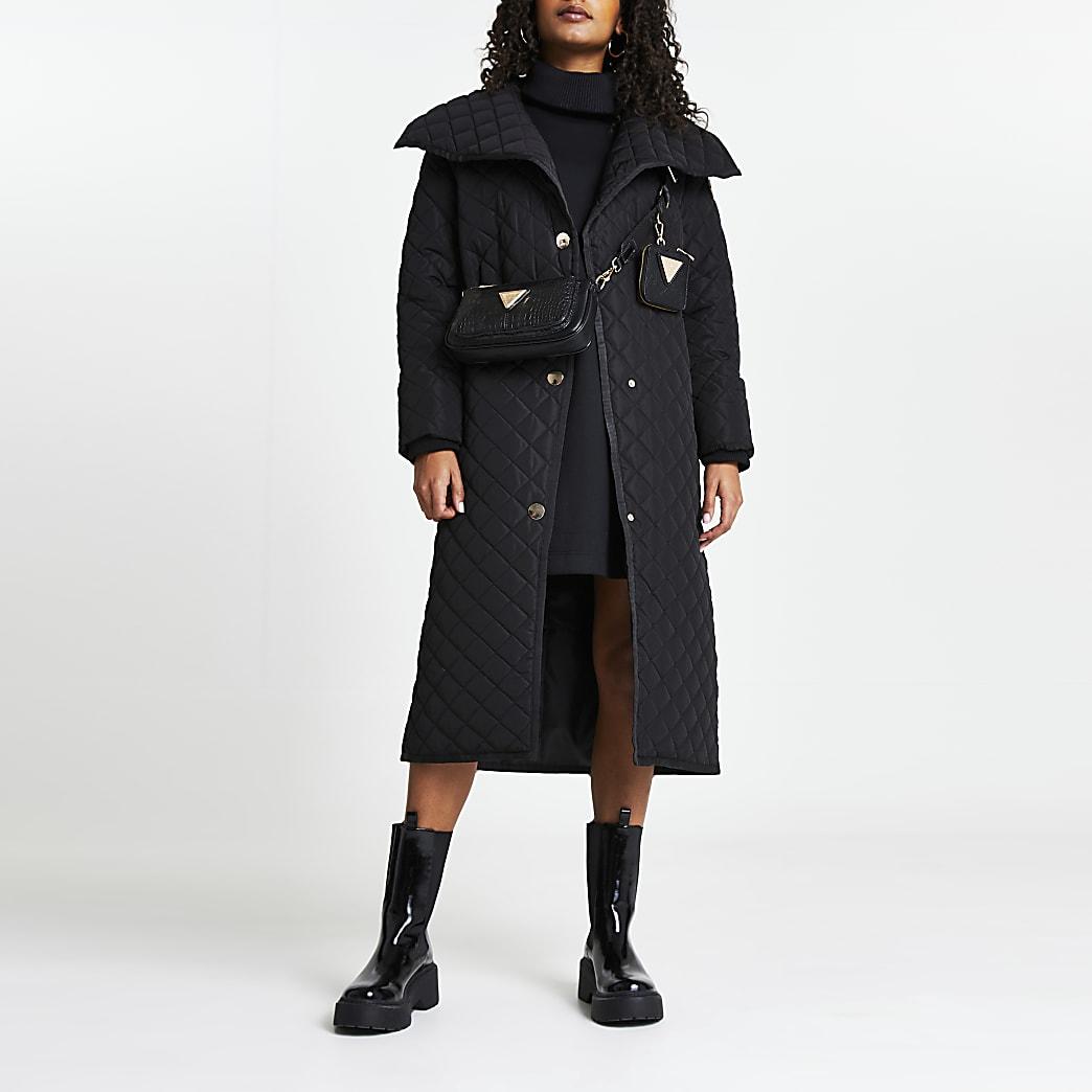 Black quilted padded coat
