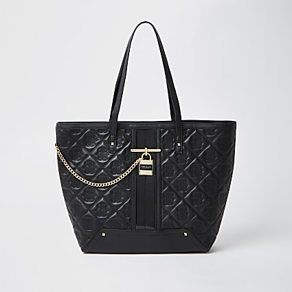 Black quilted padlock shopper bag