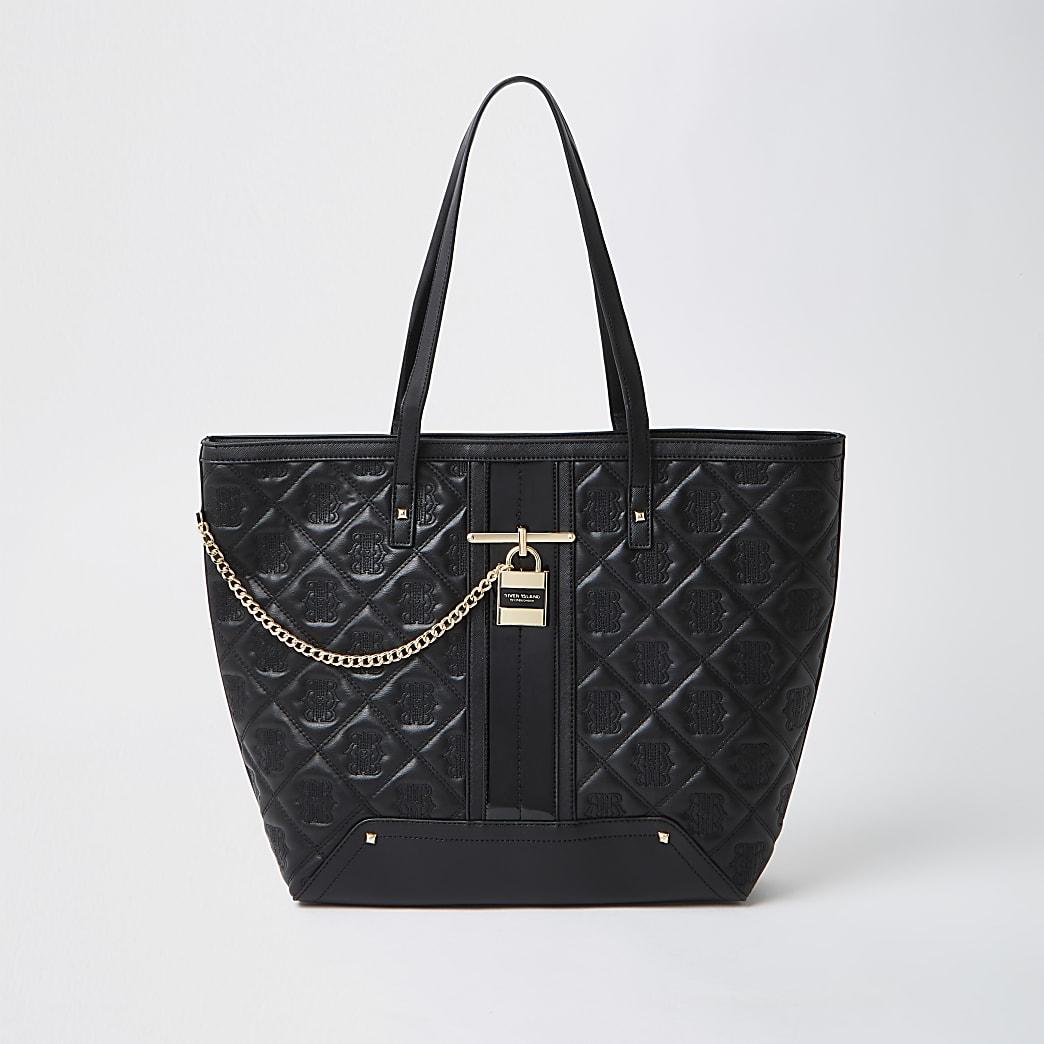 Black quilted padlock shopper bag