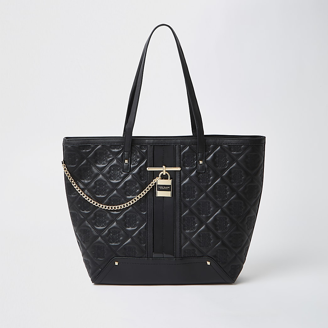Black Quilted Padlock Shopper Tote Handbag