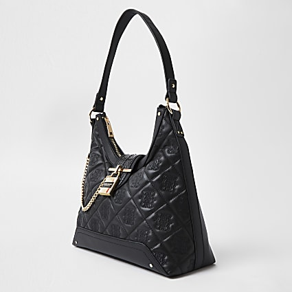 Black quilted padlock slouch handbag